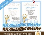 Jungle Giraffe Blue Boy Baby Shower Invitation PDF EDITABLE TEXT Print your own Invitations