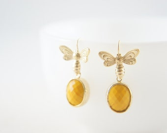 gold honey bee and mustard yellow gem earrings, gift, bee lover, bumble bee, love