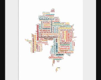 Columbus Ohio Map Typography Color Map Poster Print