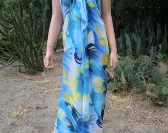 Slimming Maxi Pareo/Sarong/ beach wrap,chiffon,oversized scarf,Painted sky,Shades of Blue and Yellow