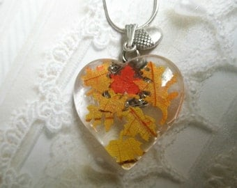 Falling Leaves-Glass Heart Pendant With Miniature Maple and Oak Leaves Cut From Real Autumn Oak & Maple Leaves-Acorn Charm-Symbol for Canada