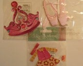 TIARA, BALLET Shoes, TODDLER Outfit - Jolee's Boutique 3d Scrapbooking stickers - Pink, Glitter, Little girl