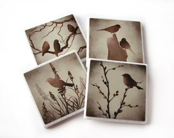Bird Decorative Tile Coasters Set of 4, Brown Nature Home Decor, Earth Tones