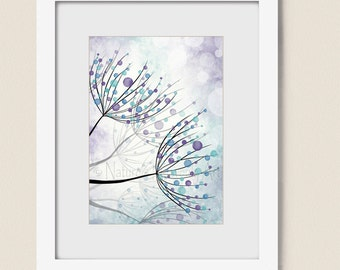 5 x 7 Blue Aqua Girls Room Decor, Dandelion Wall Art for Home Decor, Purple Bedroom Wall Art Print, Pastel Artwork (178)