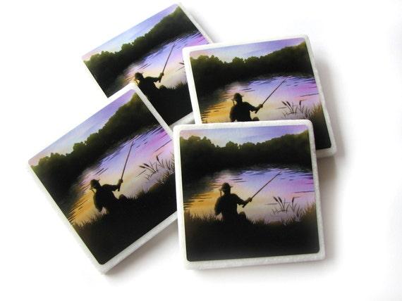 Set of 4 Decorative Tile Coasters Fisherman Decor, Sportsman Decor, Man Fishing