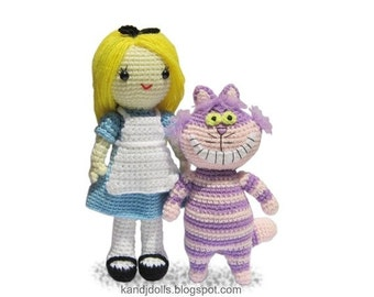 ENGLISH Instructions - Instant Download PDF Crochet Patterns Alice in Wonderland and Cheshire Cat