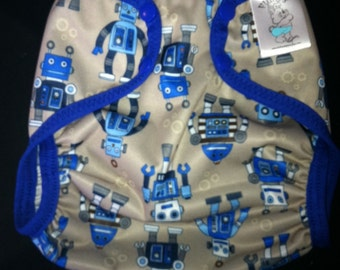 Robots Polyester PUL Cloth Diaper Cover With Aplix Hook & Loop Or Snaps You Pick Size XS/Newborn, Small, Medium, Large, or One Size