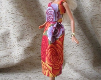 Purple, Red, Orange, Yellow, Pink and Purple Flowered Dress for Barbie