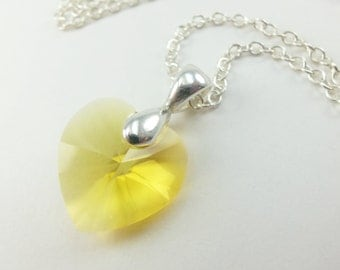 Bright Yellow Necklace Crystal Heart Necklace Sterling Silver Yellow Crystal Necklace Swarovski