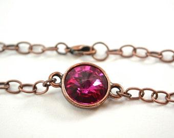 Dark Pink Copper Bracelet Antiqued Copper Chain Bracelet Swarovski Crystal Fuchsia Pink