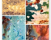 Rust and Textures Combo Pack, Yellow, Green, Blue, Orange, 8X10 Mats, Living Room Modern Art, Ready to Frame, Large Wall Decor, Wall Hanging