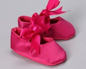 Black Friday Cyber Monday Huge sale. special price. Sweet Infant   Hot pink satin ballet slippers size 3-8 months