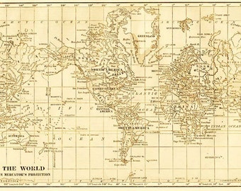 Rustic world map available as a  file  download.  Digitally altered vintage 1930s image.  Designed for background images.