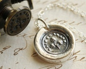Erin Go Bragh, Ireland Forever, Shamrock Victorian Wax Seal Necklace - Fine Silver, Sterling Silver