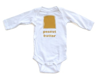 Long Sleeve Halloween Costume, Twins or Best Friends Idea Peanut Butter and Jelly Set of 2 Baby Infant Newborn White Long Cotton Bodysuits