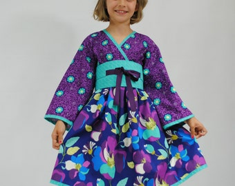 Girls Kimono Dress, Girls Dresses, Toddler dresses, Japanese Kimono, Asian Kimono, Flower Girl Dress, Girls clothing, size 2 3 4 5 6 7 8
