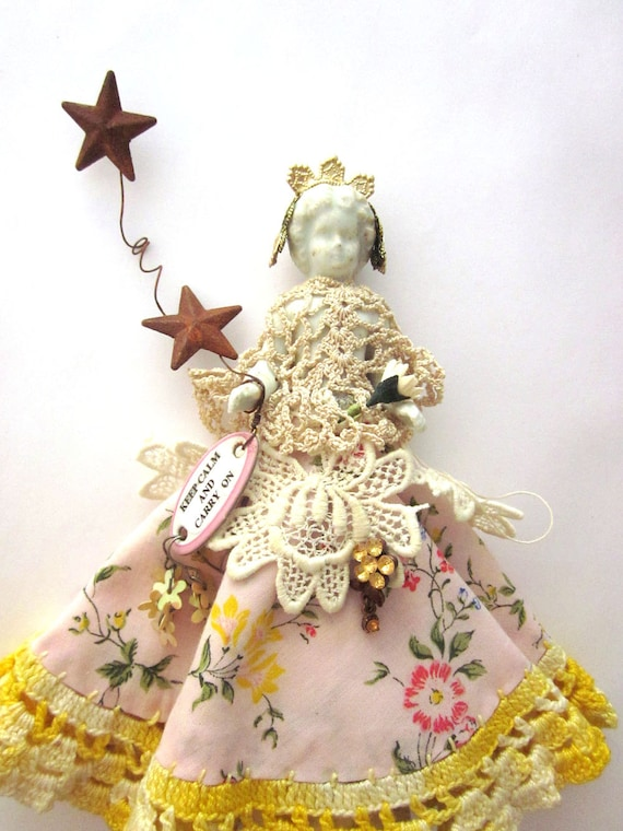 Christmas Ornament Tree Topper Art Doll Assemblage Frozen Charlotte Folk Art Doll Keep Calm and Carry On