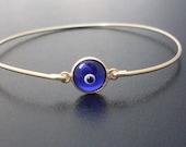Glass Eye Bracelet, Gold, Evil Eye Bracelet, Evil Eye Jewelry, Third Eye Bracelet, Third Eye Jewelry, Glass Eye Jewelry, Blue Glass Jewelry