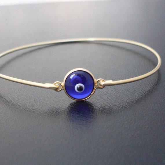 Evil Eye Bracelet, Gold Tone Socket, Evil Eye Jewelry, Glass Bracelet, Glass Jewelry, Third Eye Bracelet, Third Eye Jewelry
