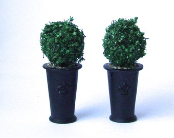 2 TOPIARY TREES Round black Georgian planters Dolls House Miniature Plant Handmade 12th
