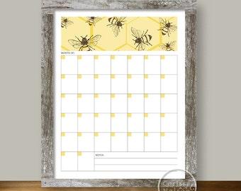 Calendar Bee Hexagon - Blank Monthly Printable
