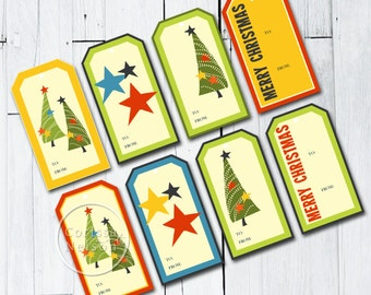 Stars and Trees Gift Tags - Christmas Instant Printable