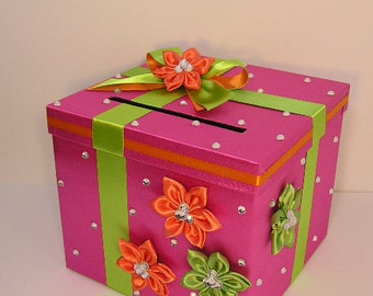 Wedding Card Box Hot Pink and Lime Green/Orange Gift Card Box Money Card Box Holder-Customize your color