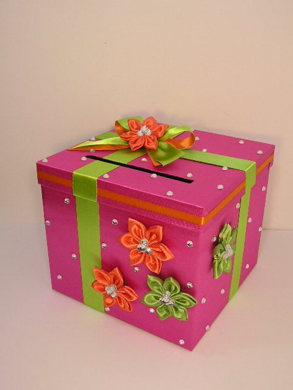 Wedding card box hot pink and lime green orange gift card box - Baul decoracion ...