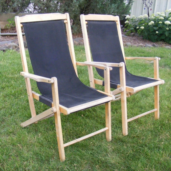 Vintage Sling Chair Wooden Folding Chair Canvas Sling Deck