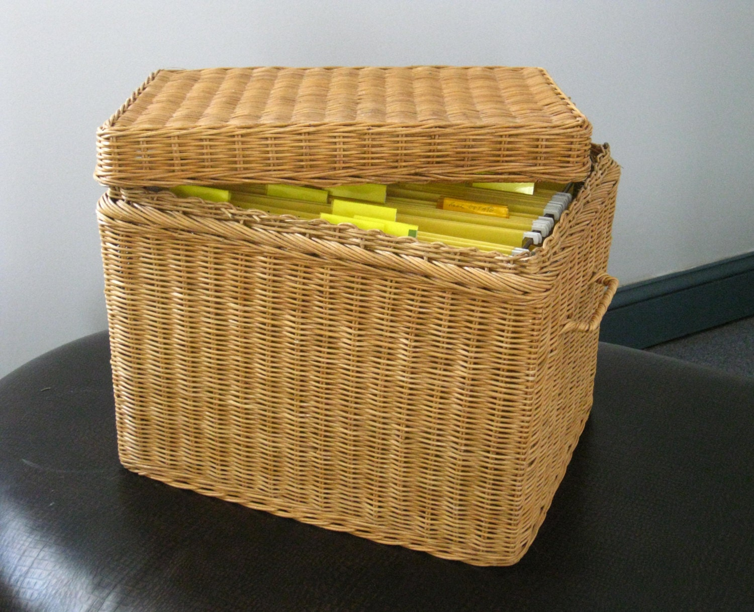 Vintage Rattan File Basket Wicker Box With Lid Home Office