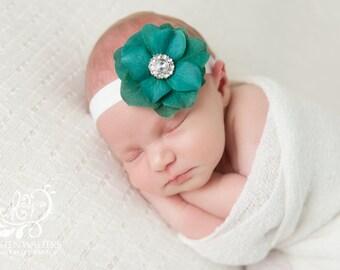 Teal velvet blossom headband with crystal center