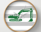 Grass Green Excavator Wall Clock 10 inch Diameter Gray and White Stripes