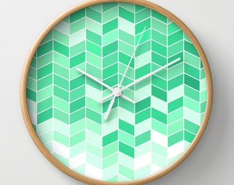 Turquoise Herringbone Wall Clock 10 inch Diameter