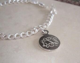 Engravable Sterling Silver Charm Bracelet, Personalized Silver Charm Bracelet, Monogrammed Silver Charm Bracelet, Mothers Bracelet