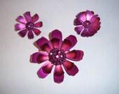 Vintage 1960s Flower Brooch and Clip Earrings Set - Hot Pink - Mod Sixties - Rhinestone and Metal Flower