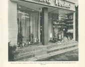 French Shops 1: Perfume Beauty Centre Herblay, Val-d'Oise Paris, France, Black and White Photograph, 1960's French Decor, Mid Century Modern