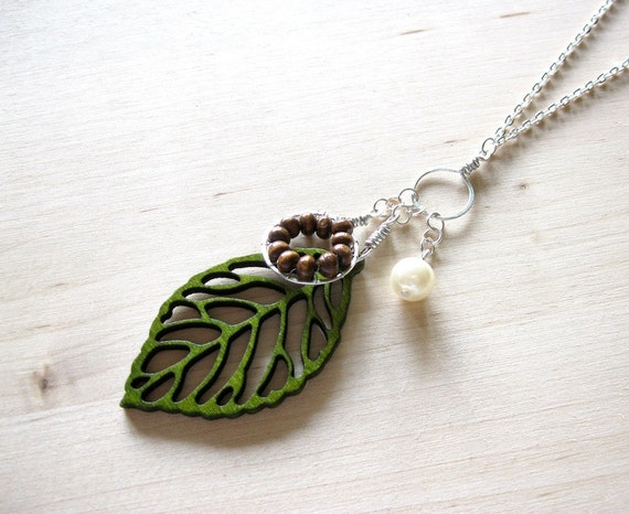 Long Green Leaf Necklace, Woodland Forest Necklace, Wire Wrapped Nature Necklace - SUMMER SALE