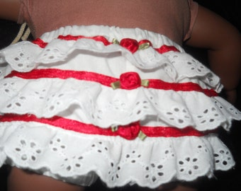 American Girl Bitty Baby Doll Ruffle Butt Bloomers Diaper cover Panties with White cotton Lace