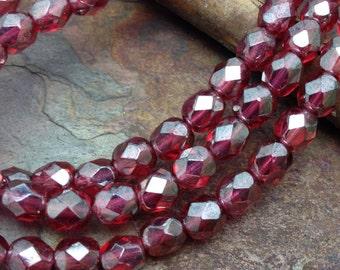 Sparkling Dahlia Fire polished 4mm Czech Glass Beads