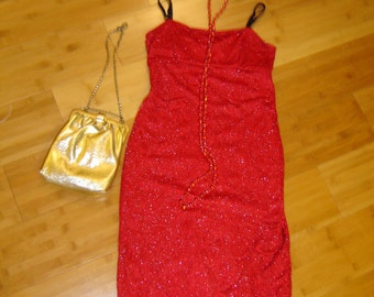20's  flapper red lace fringed dress Halloween GATSBY COSTUME womens S access bag