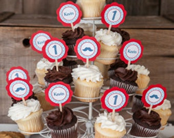 Mustache Bash Theme Cupcake Toppers - Little Man Happy Birthday Party Decorations - Mustache Cupcake Decorations - Red & blue