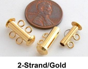 2-Strand Gold Slide-Lock Brass Clasps 2-Sets
