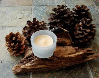 Natural Beach Driftwood Tea Light Candle Holder with Glass Holder