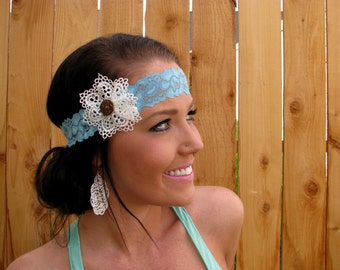 Stretch Lace Headband in Pastel Light Blue with Lace Flower and Natural Vegan Coconut Shell Button