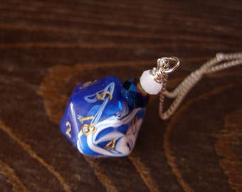 D20 dice dungeons and dragons necklace dice blue white swirls pendant D20 pendant dice jewelry dice necklace D20 necklace