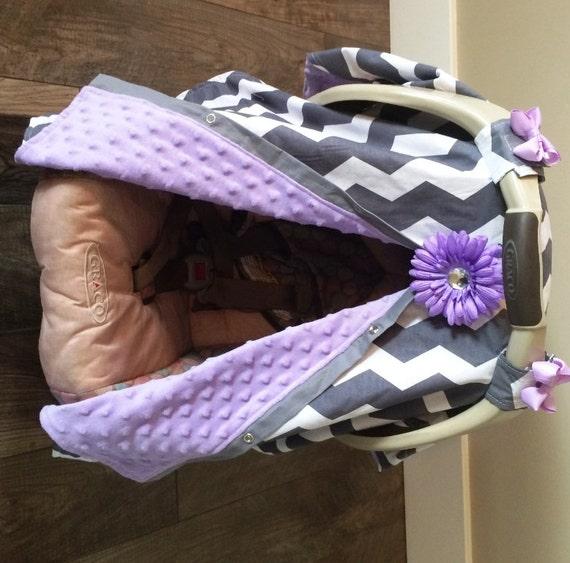 Carseat Canopy Lavender Minky Dot  Inside / car seat cover / nursing cover / carseat canopy / carseat cover