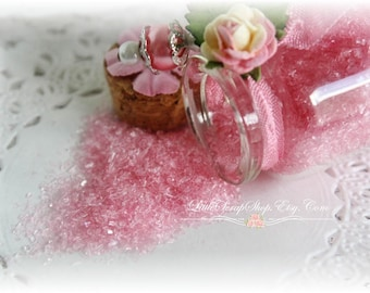 Glitter Glass Bottles .5 Ounces, Hand Tinted Diamond Dust, German Glitter, Charm Pink