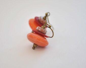 Orange Earrings, Lampwork Earrings, Glass Bead Earrings