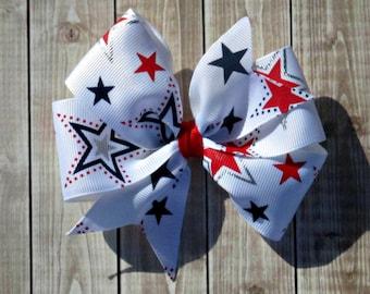 Girls Fourth of July Pinwheel Hair Bow- Red White & Blue Stars