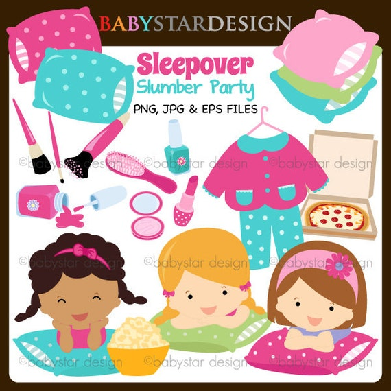 Sleepover Slumber Party Clipart INSTANT DOWNLOAD by babystardesign